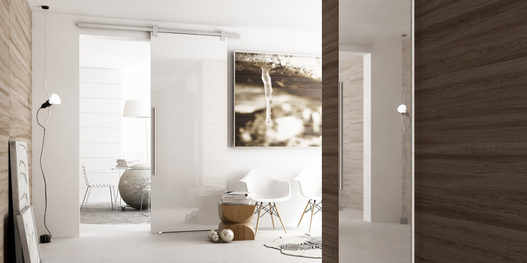 Glass la porta scorrevole in vetro - Porte invisibili scorrevoli ...