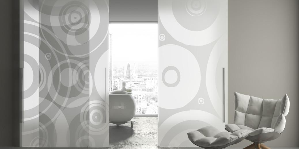 Porte Scorrevoli A Due Ante In Vetro.Glass La Porta Scorrevole In Vetro