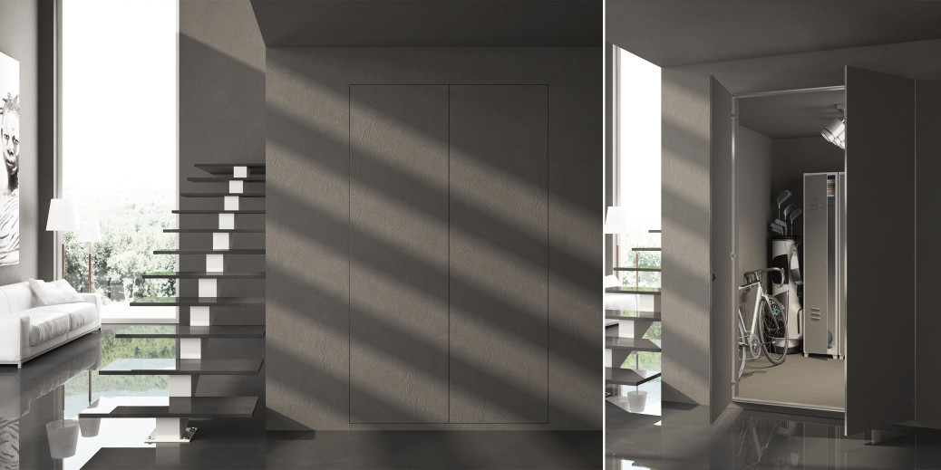 secret porte invisibili e sportelli rasomuro. Black Bedroom Furniture Sets. Home Design Ideas