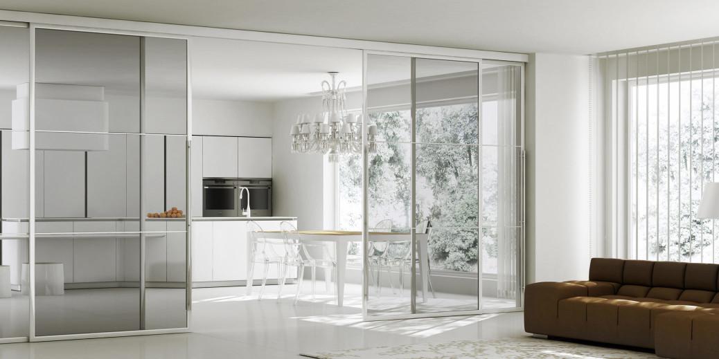 Porte scorrevoli pareti mobili per rendere dinamici gli for Piccoli piani cabina con soppalco e veranda