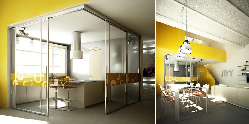 Loft milano da luogo di lavoro a uno spazio nuovo e for Enormi isole di cucina